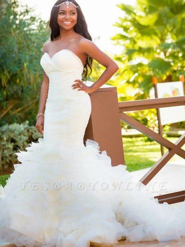 Court Train Sexy Mermaid Sweetheart Organza Sleeveless Wedding Dresses