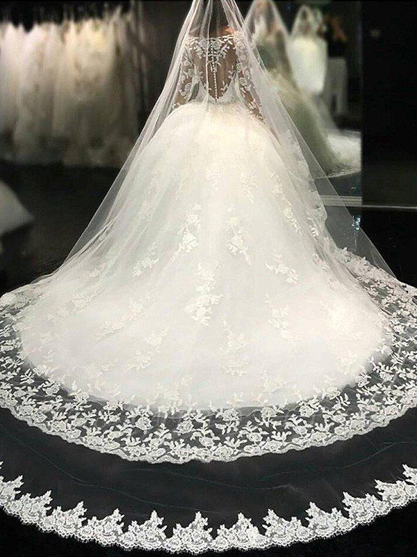 Cathedral Train Applique Scoop Long Sleeves Lace Tulle Puffy Wedding Dresses