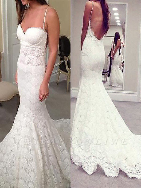 Court Train Sleeveless Sexy Mermaid Lace Wedding Dresses