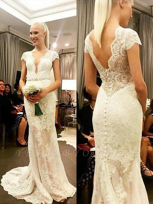 Sweep Train V-neck  Column Lace Short Sleeves Wedding Dresses