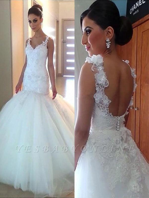 Alluring Court Train Applique V-neck Sleeveless Tulle Sexy Mermaid Wedding Dresses