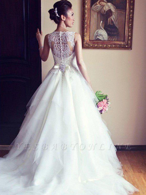 Dazzling Scoop Beaded Chapel Train Ribbon Applique Sleeveless Lace Tulle Wedding Dresses
