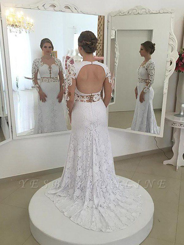 Sweep Train Long Sleeves Column Scoop Lace Wedding Dresses