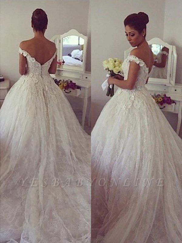 Dramatic Off-the-Shoulder Court Train Puffy Lace Wedding Dresses