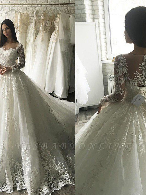 Elegant Applique Court Train Puffy Scoop Tulle Long Sleeves Wedding Dresses