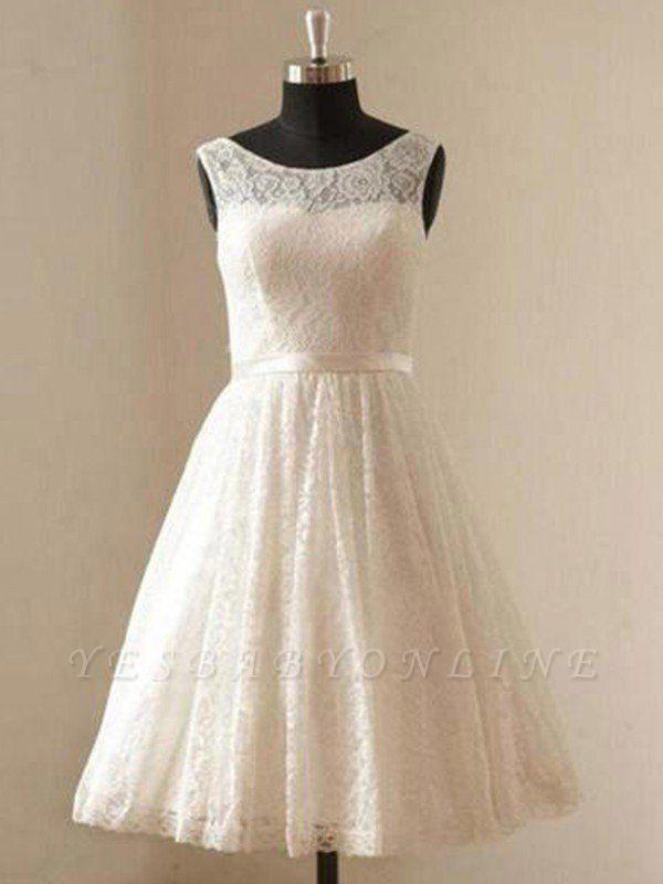 Gorgeous Knee-Length Sleeveless Scoop Ribbon Lace Wedding Dresses