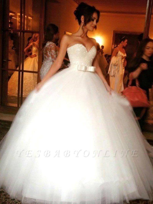 Stunning Bowknot Tulle Sleeveless Wedding Dresses | Floor-Length Puffy Sweetheart Bridal Gowns