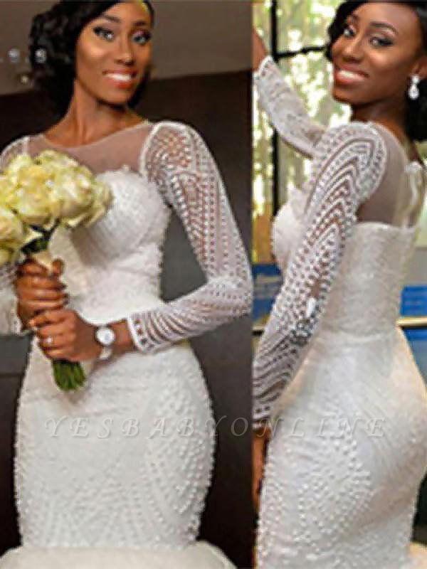 Sleek  Sweep Train Beaded Scoop Long Sleeves Sexy Mermaid Tulle Wedding Dresses