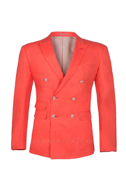 High Quality Latest Design Watermelon Peak Lapel Wedding Suit Back Vent