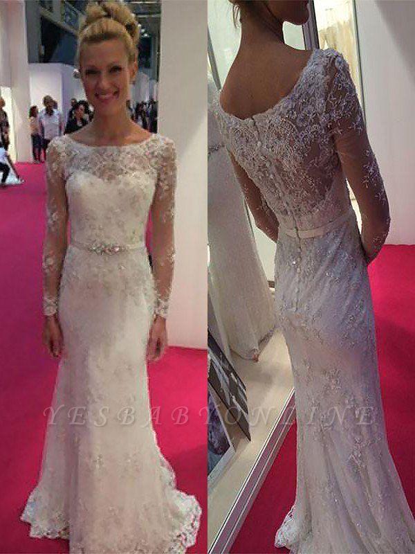 Chiffon Column Lace Sweep Train Scoop Long Sleeves Wedding Dresses