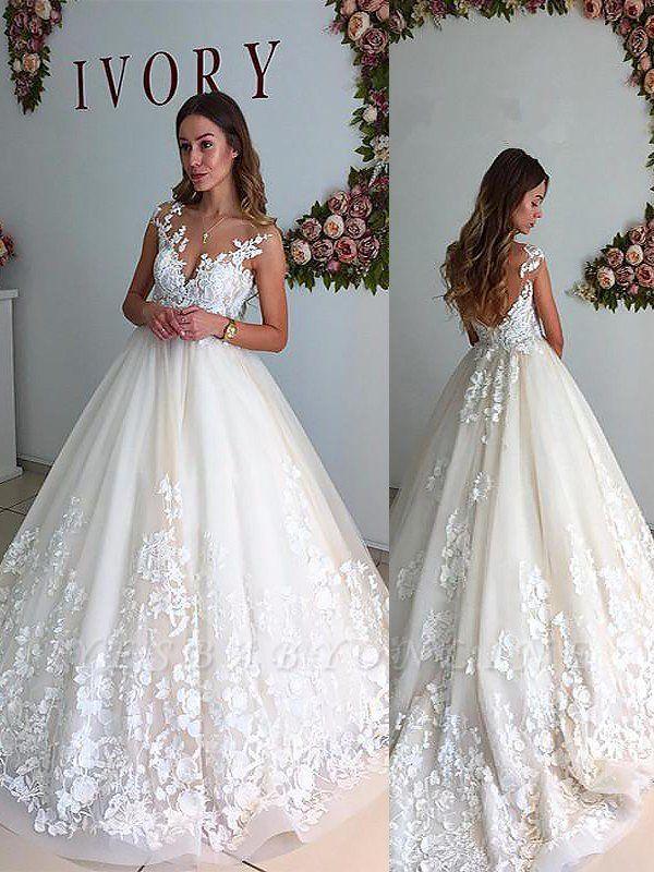 Court Train Sleeveless Tulle V-neck Romantic Wedding Dresses