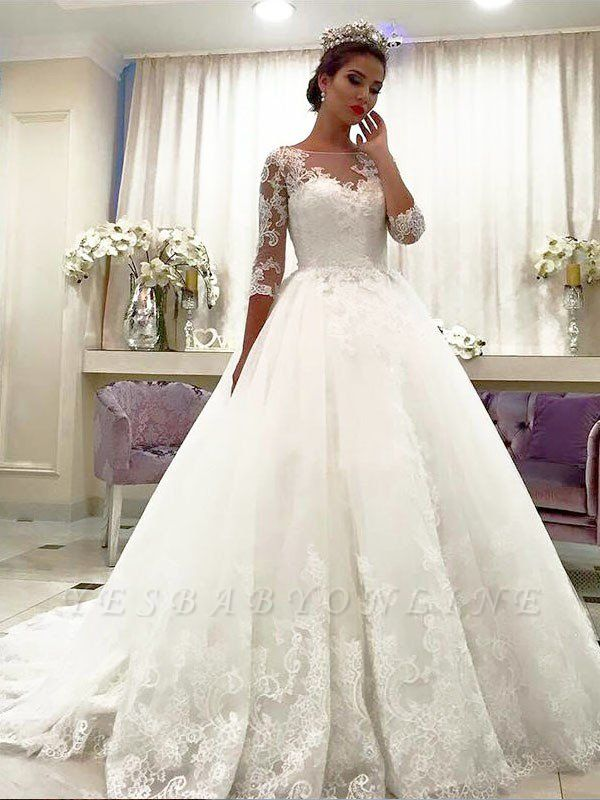 Charming Bateau 3/4 Sleeves Court Train Puffy Lace Tulle Wedding Dresses