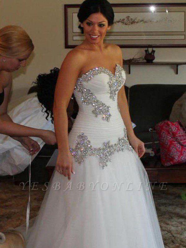 Sleek Floor-Length Rhinestone Sleeveless Tulle Sweetheart Wedding Dresses