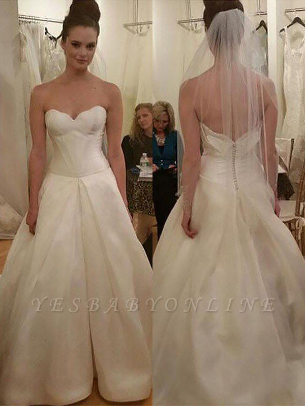 Sleeveless Court Train Sweetheart Taffeta  Puffy Wedding Dresses