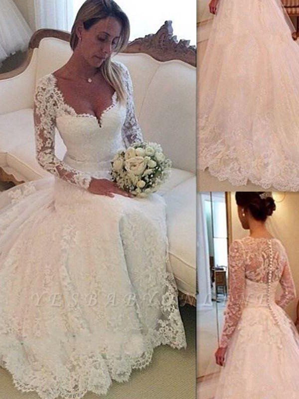 Puffy Long Sleeves Court Train Tulle V-neck Lace Wedding Dresses