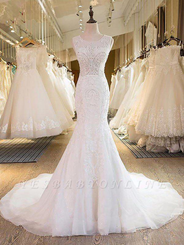 Charming Tulle Sweep Train Sexy Mermaid Wedding Dresses