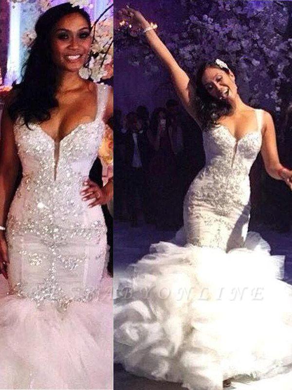Glamorous Straps Sexy Mermaid Organza Wedding Dresses