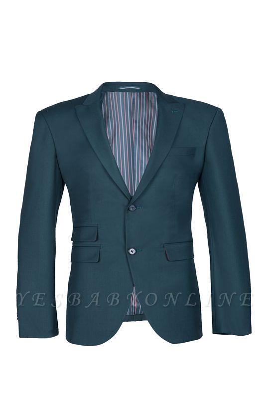 Dark Green Stylish Design Back Vent Peak Lapel Slim Fit Wedding Suit