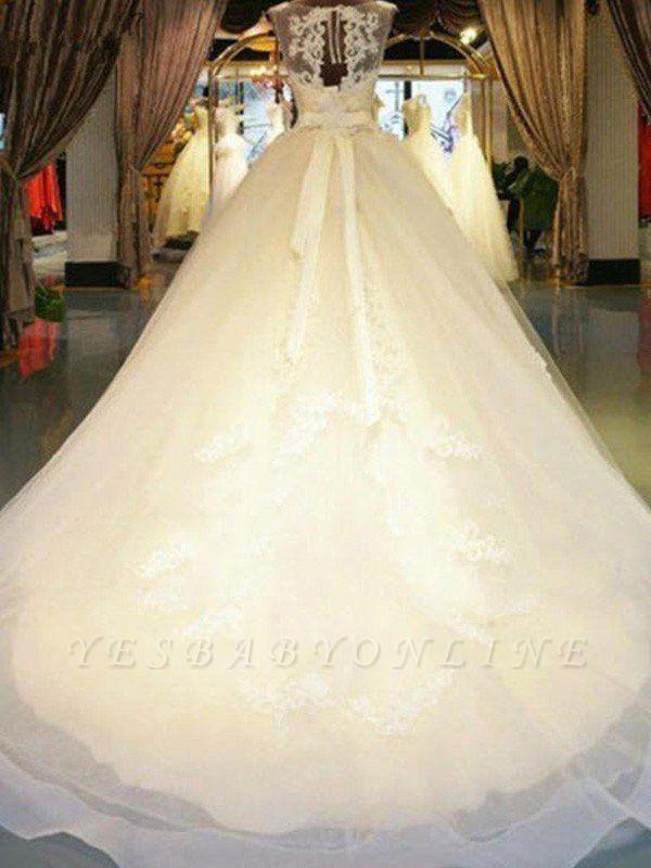 Sleek Off-the-Shoulder Sleeveless Ribbon Beaded Sweep Train Applique Lace Puffy Wedding Dresses