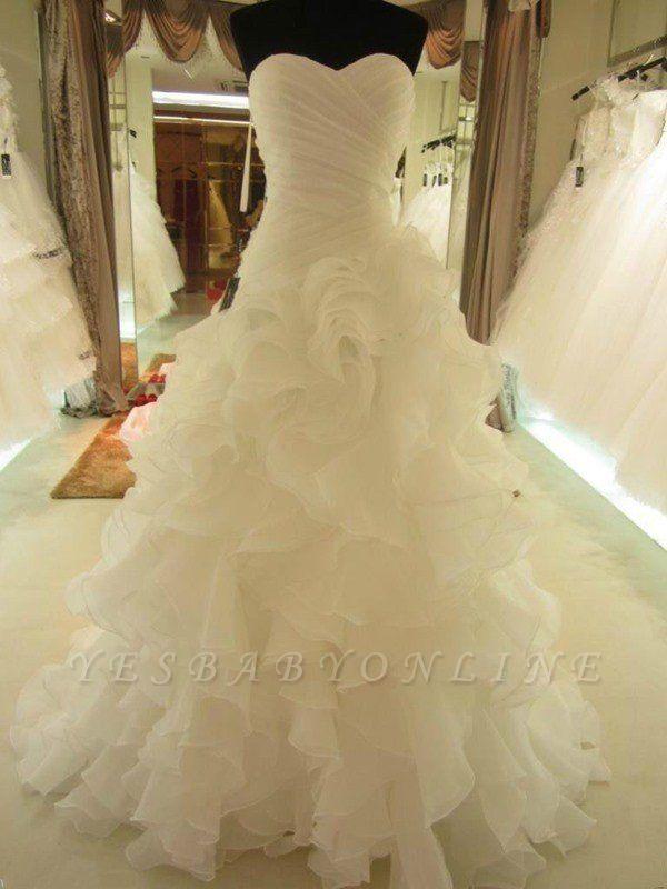 Ruffles Organza Puffy Sweetheart Wedding Dresses | Sleeveless Court Train Bridal Gowns