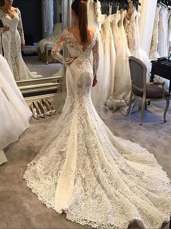 Alluring Long Sleeves Lace Sexy Mermaid Wedding Dresses