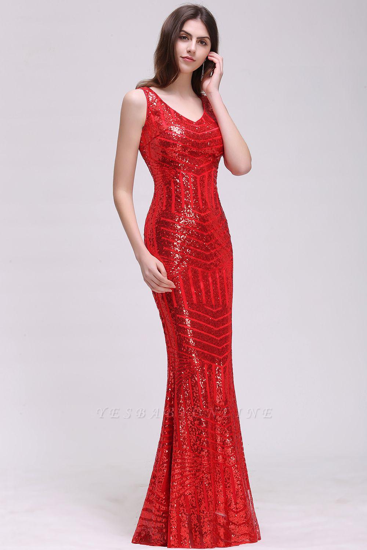 Elegant Mermaid Sequined Jewel Sleeveless Floor-Length Bridesmaid Dress