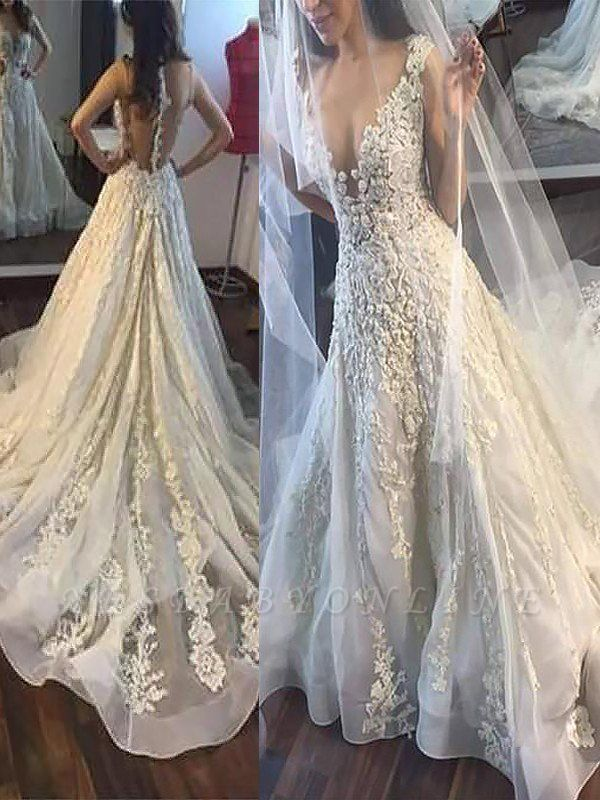 Alluring Court Train Sleeveless Tulle Applique Wedding Dresses
