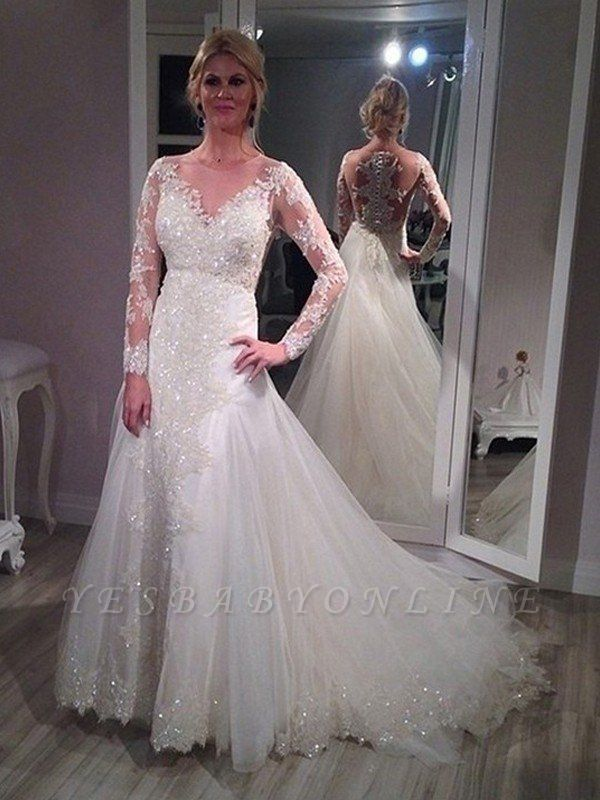 Sweep Train Tulle Sequin Wedding Dresses | Long Sleeves V-neck Bridal Gowns