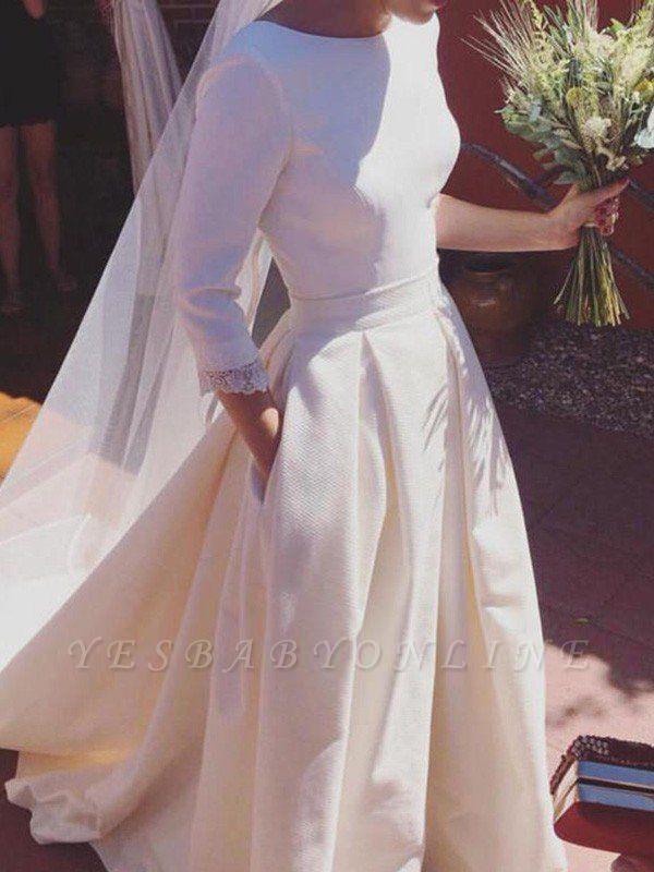 Glamorous Sweep Train Ruffles Scoop Satin 3/4 Sleeves Wedding Dresses
