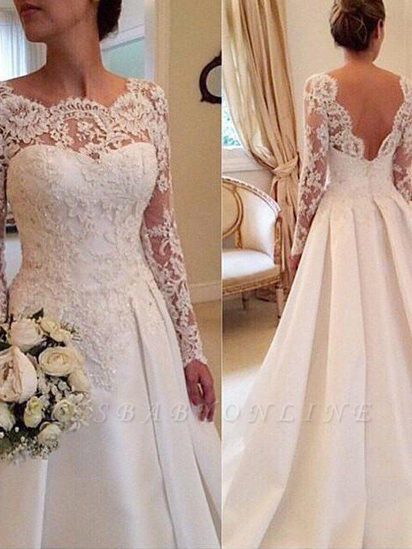 Court Train Long Sleeves Scoop Puffy Satin Lace Wedding Dresses