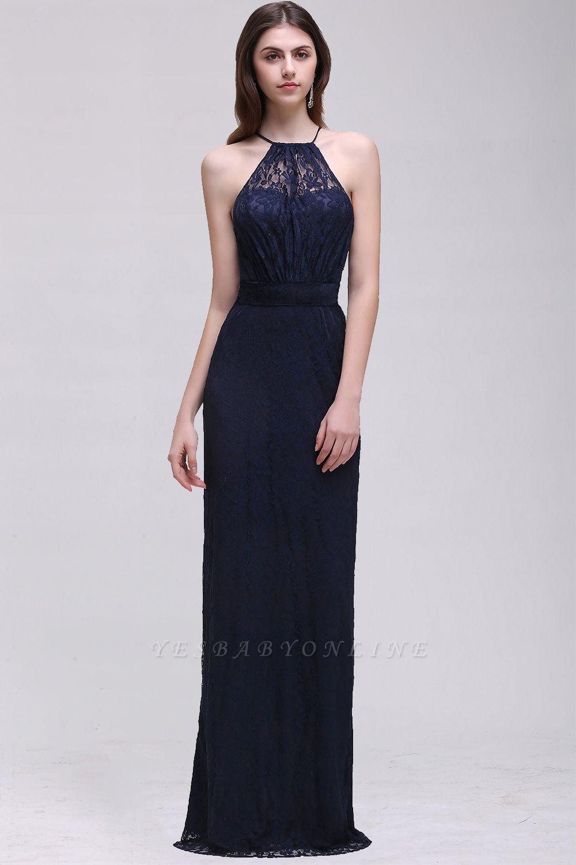 Elegant A-Line Lace Halter Sleeveless Floor-length Bridesmaid Dress