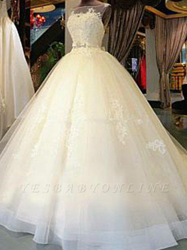 Cathedral Train Sleeveless Ribbon Scoop Applique Tulle Puffy Wedding Dresses