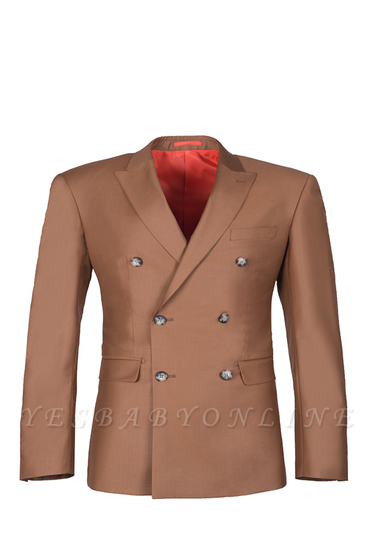 Brown Peak Lapel Customize Double Breasted Groomsmen Popular Wedding Suit