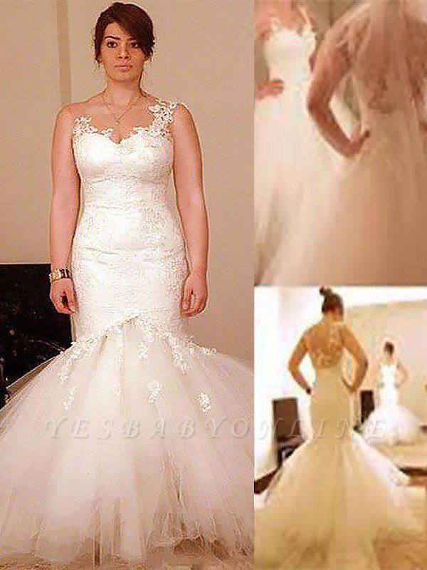 Dramatic Straps Floor-Length Sleeveless Sexy Mermaid Organza Wedding Dresses