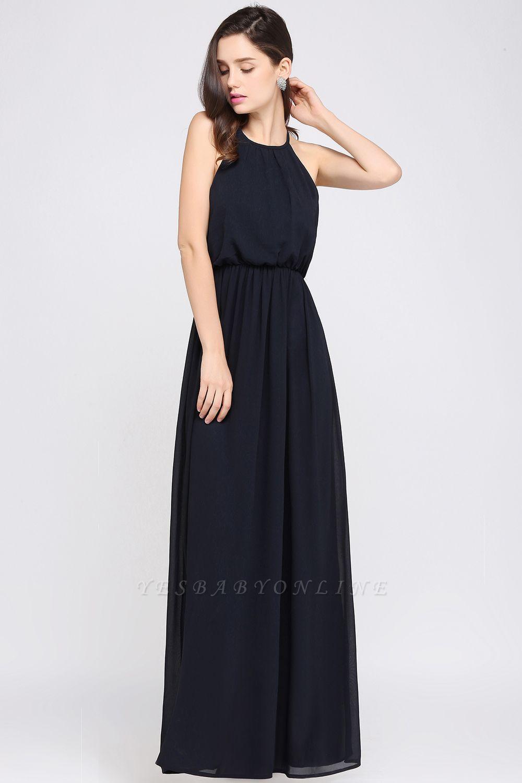 Simple A-Line  Halter Sleeveless Floor-Length Bridesmaid Dresses