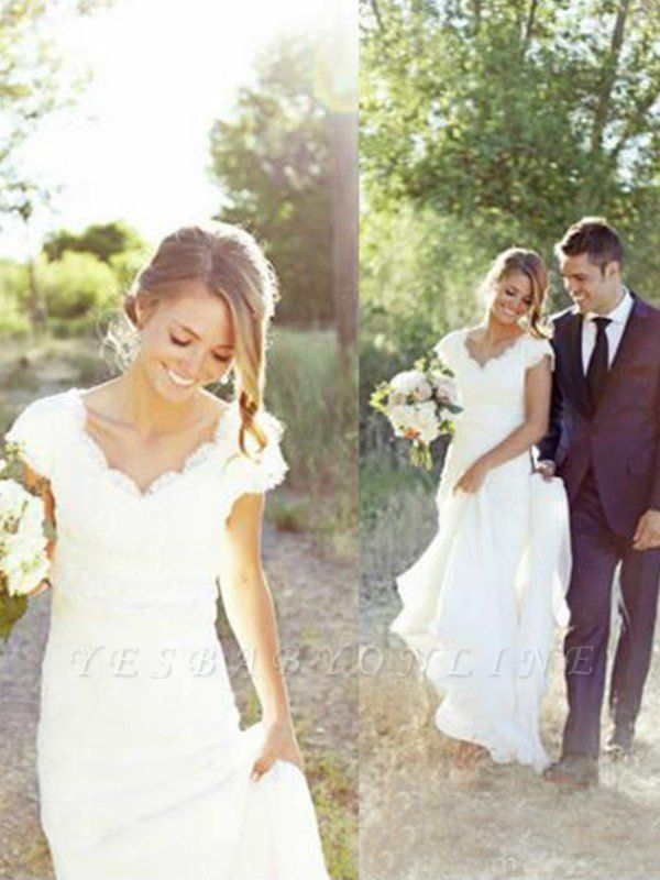 Elegant Sweep Train V-neck Tulle Sleeveless Lace Wedding Dresses