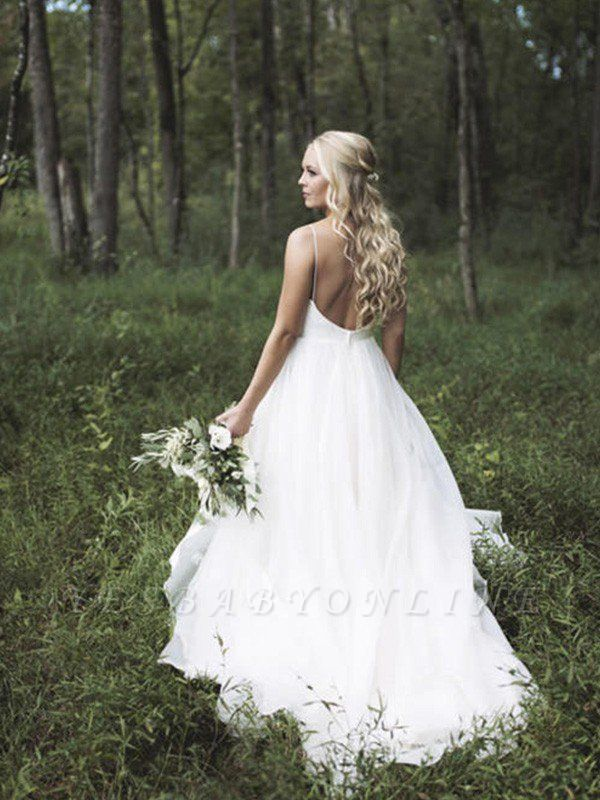 Spaghetti Straps Lace Organza Wedding Dresses | V-neck Sleeveless Court Train Bridal Gowns