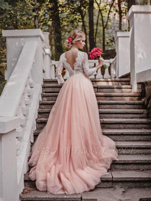 V-neck Court Train Applique Wedding Dresses | Tulle Puffy Long Sleeves Bridal Gowns