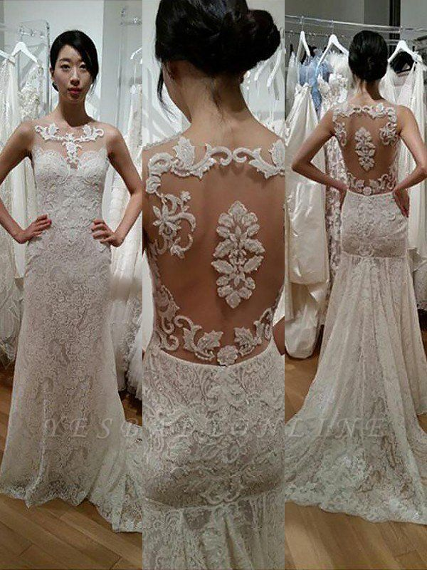 Classic Scoop Sweep Train Sexy Mermaid Lace Wedding Dresses