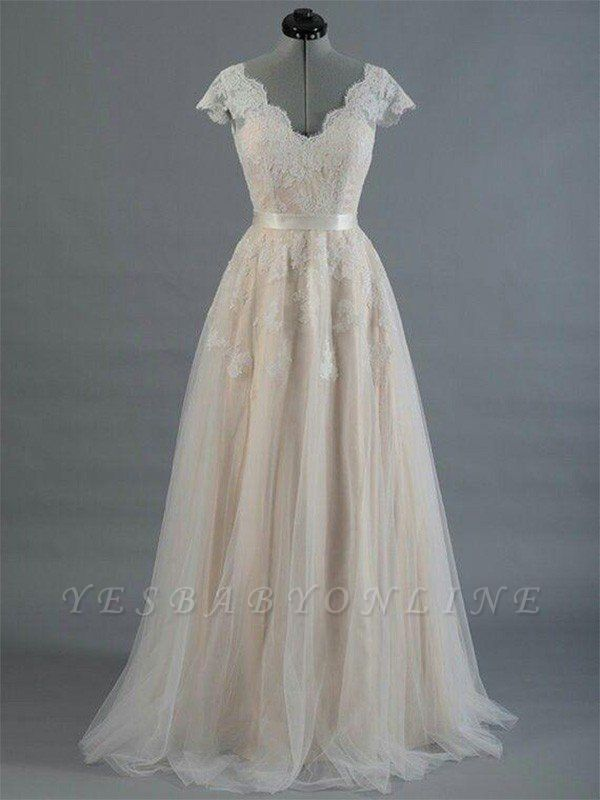 Sweep Train Sleeveless V-neck Applique Lace Wedding Dresses