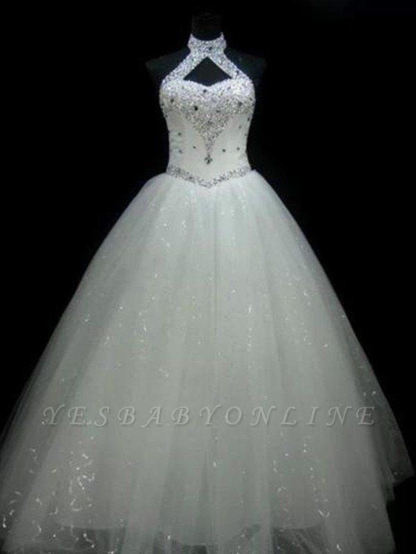 Puffy Sleeveless Floor-Length Beaded Tulle Halter Sequin Wedding Dresses