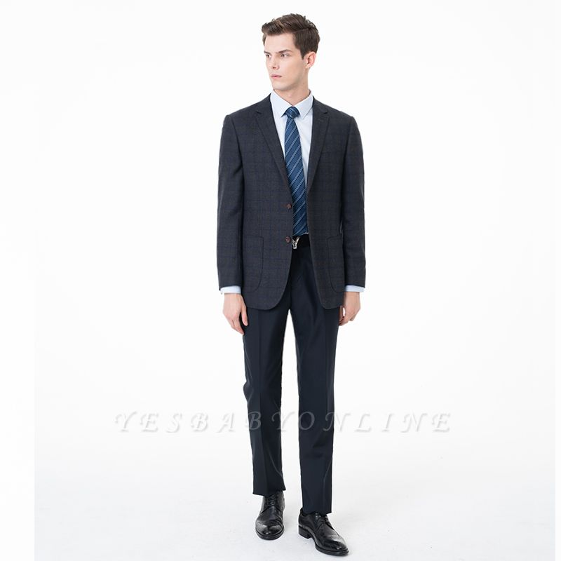 Slim Fit Peak Lapel Two-piece Suit Lattice Casual Suits
