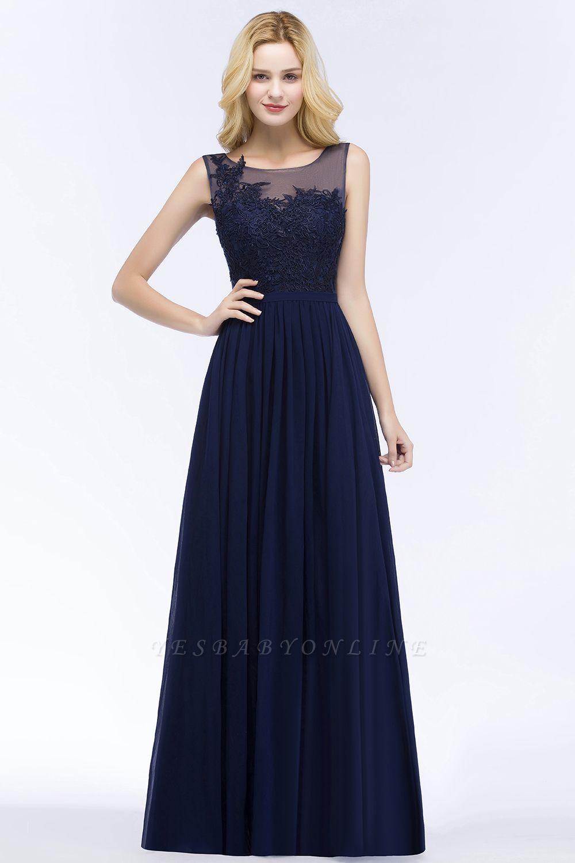 A-line  Appliques Scoop Sleeveless Floor-Length Bridesmaid Dresses