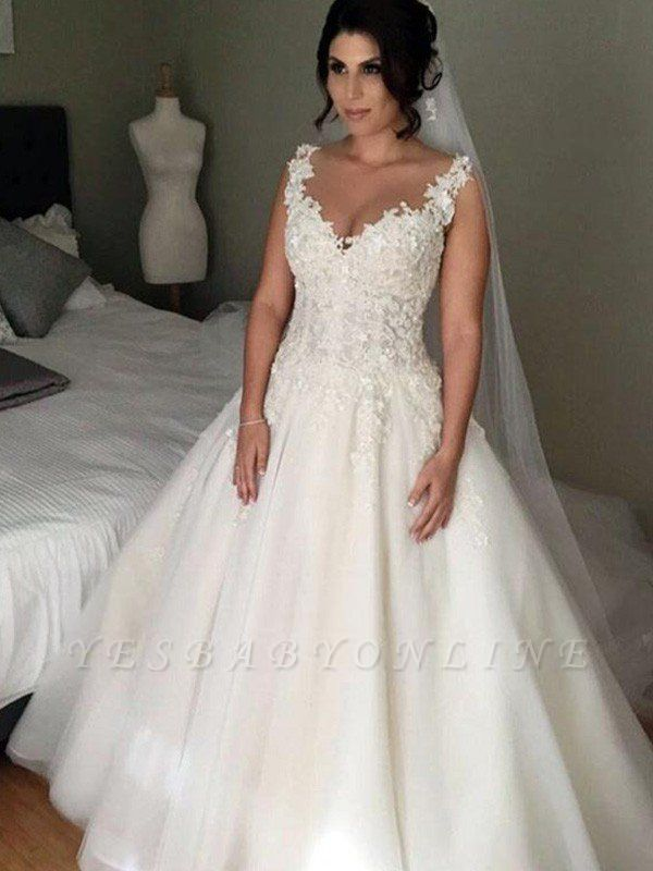 V-neck Puffy Tulle Applique Lace Wedding Dresses | Court Train Sleeveless Brial Gowns