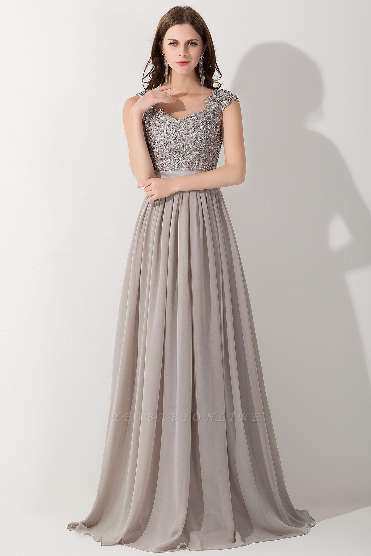 A-line  V-Neck Sleeveless Ruffles Floor-Length Bridesmaid Dress with Appliques
