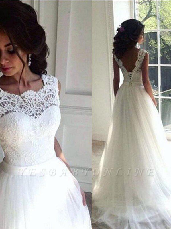 Alluring Tulle Sweep Train Bateau Sleeveless Ribbon Lace Wedding Dresses