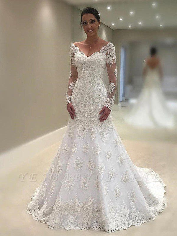 V-neck Applique Lace Sexy Mermaid Wedding Dresses | Long Sleeves Court Train Bridal Gowns