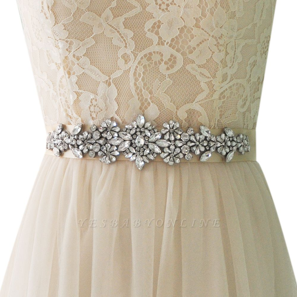 Satin Flowers Pattern Wedding Sash with Pearls
