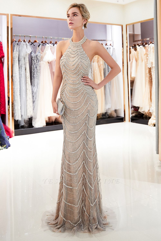 Mermaid Halter Sleeveless Sequined Long Prom Dress | 2019 Evening Dress