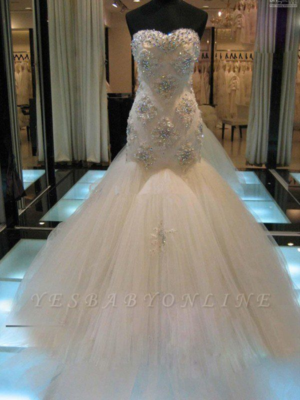 Beaded Sleeveless Tulle Sweetheart Court Train Sexy Mermaid Wedding Dresses